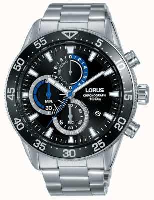 Lorus | chronographe homme | cadran noir | bracelet en acier inoxydable | RM335FX9