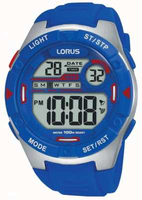 Lorus | mens sports digital | bracelet en caoutchouc bleu | R2301NX9