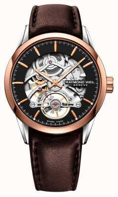 Raymond Weil Indépendant | automatique | cadran squelette | bracelet en cuir marron 2785-SC5-20001