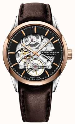 Raymond Weil Freelancer | automatique | cadran squelette | bracelet en cuir marron 2785-SC5-20001