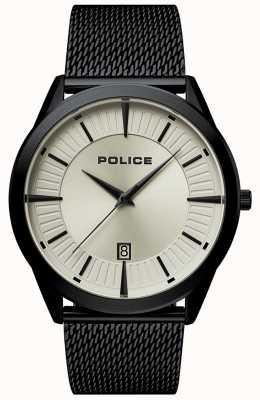 Police | patriote homme | bracelet en maille noire | cadran beige | 15305JSB/79MM