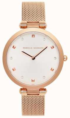 Rebecca Minkoff Femme nina | bracelet en maille d'or rose | cadran blanc | 2200301