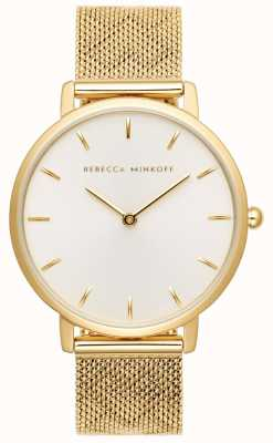 Rebecca Minkoff Major femme | bracelet en maille plaqué or | cadran argenté 2200298