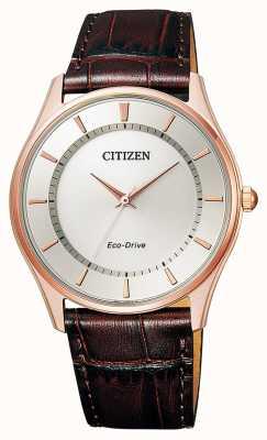 Citizen | eco-drive pour hommes | bracelet en cuir marron | cadran argenté | BJ6483-01A