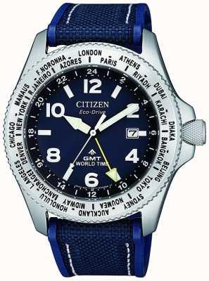 Citizen Montre Homme Eco-Drive Promaster GMT Cadran Bleu Bleu BJ7100-15L