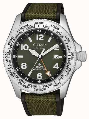 Citizen Montre Homme Eco-Drive Promaster GMT Bracelet en toile verte à cadran vert BJ7100-23X