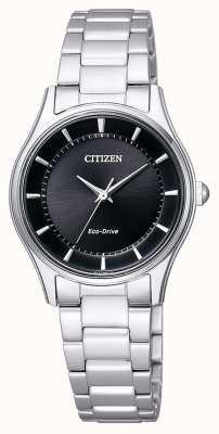 Citizen | eco-drive femme | bracelet en acier inoxydable | cadran noir | EM0401-59E