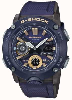 Casio | heure du monde du carbone g-shock | bracelet en caoutchouc bleu | GA-2000-2AER