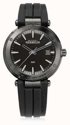 Michel Herbelin | mens newport | bracelet en caoutchouc noir | cadran noir | 12288/G33CA