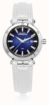 Michel Herbelin | femmes newport | bracelet en cuir blanc | cadran bleu | 14288/AP15BLA