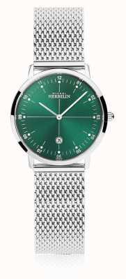Michel Herbelin | ville des femmes | bracelet en maille d'argent | cadran vert | 16915/16B