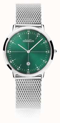 Michel Herbelin | ville des hommes / femmes | bracelet en maille d'argent | cadran vert | 19515/16B