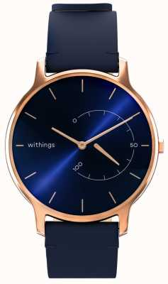 Withings Move chic intemporel - cuir bleu, or rose HWA06M-TIMELESS CHIC-MODEL 3-RET-INT