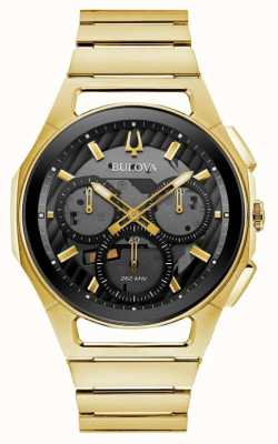 Bulova | curv | hommes | bracelet de ton or | cadran noir chrono | 97A144