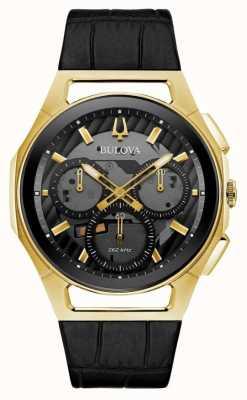Bulova | curv | hommes | chronographe | bracelet en cuir noir | 97A143