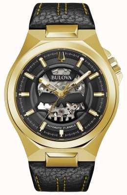 Bulova | maquina | hommes | automatique | bracelet en cuir noir | 97A148