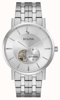 Bulova Mens automatique | bracelet en acier inoxydable | cadran argenté 96A238