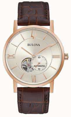 Bulova | hommes | automatique | bracelet en cuir marron | cadran argenté | 97A150