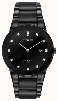 Citizen | axiom eco-drive pour homme | cadran diamant noir | bracelet noir AU1065-58G