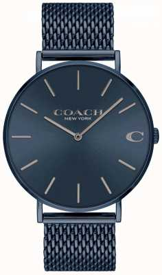 Coach Hommes charles | bracelet acier bleu maille ip | cadran bleu 14602146