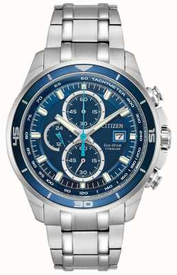 Citizen | eco-drive titane wr100 pour hommes | cadran bleu chronographe | CA0349-51L