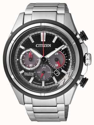 Citizen | eco-drive pour hommes | bracelet en titane | cadran noir | CA4241-55E
