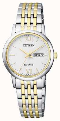 Citizen | eco-drive femme | bracelet deux tons | cadran argenté | EW3254-87A