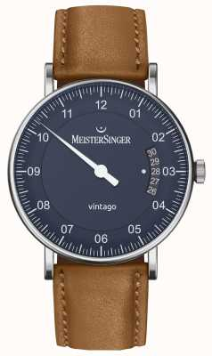 MeisterSinger | mens vintago | automatique | cuir marron | cadran bleu VT908