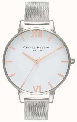 Olivia Burton   femmes   cadran blanc   bracelet en maille d'argent   OB16BD97