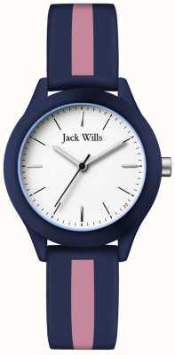 Jack Wills | syndicat des femmes | cadran blanc | bracelet en silicone marine / rose | JW008BLPST