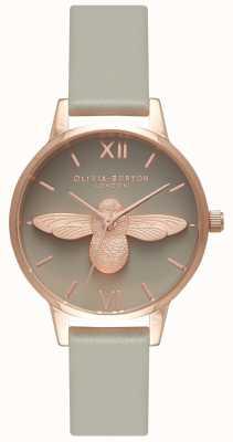 Olivia Burton | les femmes | Abeille 3d | bracelet en cuir gris | OB15AM77