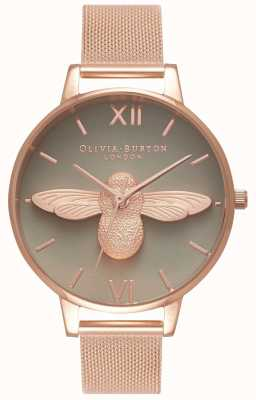 Olivia Burton | les femmes | Abeille 3d | bracelet en maille d'or rose | cadran gris | OB16AM117