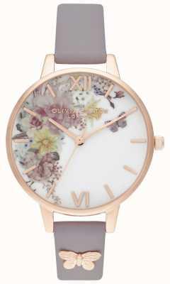Olivia Burton | les femmes | jardin enchanté | bracelet en cuir gris lilas | OB16EG129