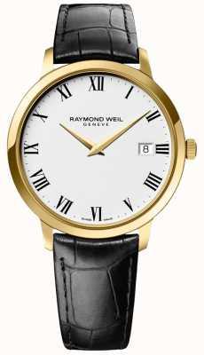 Raymond Weil | toccata pour hommes | boîtier en or | bracelet en cuir noir | 5588-PC-00300