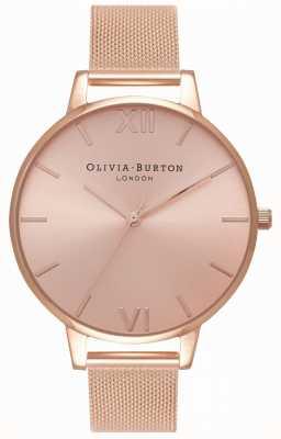 Olivia Burton | les femmes | grand cadran sunray | bracelet en maille d'or rose | OB16BD102