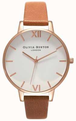 Olivia Burton | les femmes | grand cadran blanc | bracelet en cuir beige | OB16BDW19