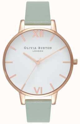 Olivia Burton | les femmes | grand cadran blanc | bracelet en cuir menthe | OB16BDW27