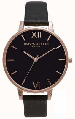 Olivia Burton | les femmes | cadran noir | bracelet en cuir noir | OB15BD66
