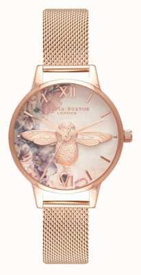 Olivia Burton | les femmes | abeille de fleurs aquarelle | maille en or rose | OB16PP40