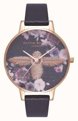 Olivia Burton   les femmes   abeille 3d brodée   bracelet en cuir noir   OB16EM02