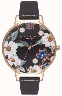 Olivia Burton | les femmes | fleurs ornées de bijoux | bracelet en cuir noir | OB16BF04