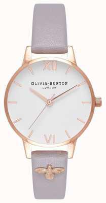 Olivia Burton | les femmes | Abeille 3d | bracelet lilas gris en cuir embelli | OB16ES11
