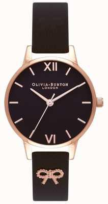 Olivia Burton | des femmes | cadran noir | bracelet vintage avec noeud noir | OB16VB07