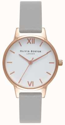 Olivia Burton | les femmes | cadran blanc | bracelet en cuir gris | OB16MDW05
