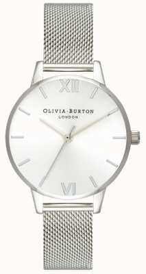 Olivia Burton   les femmes   soleil cadran midi   bracelet en maille d'acier   OB16MD86