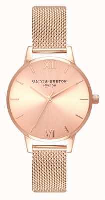 Olivia Burton | les femmes | midi | cadran solaire | bracelet en maille d'or rose | OB16MD84