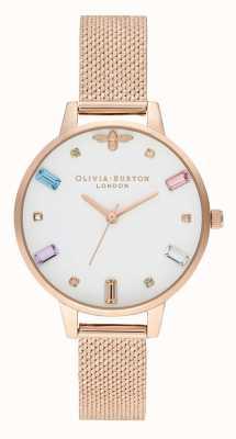 Olivia Burton | les femmes | abeille arc-en-ciel | bracelet maille boucle rose or | OB16RB15