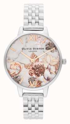 Olivia Burton   les femmes   fleurs en marbre   bracelet en acier inoxydable   OB16CS31