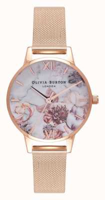 Olivia Burton | les femmes | fleurs en marbre | bracelet en maille d'or rose | OB16CS06
