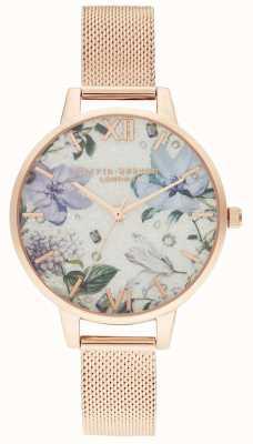 Olivia Burton | les femmes | fleurs ornées de bijoux | bracelet en maille d'or rose | OB16BF27